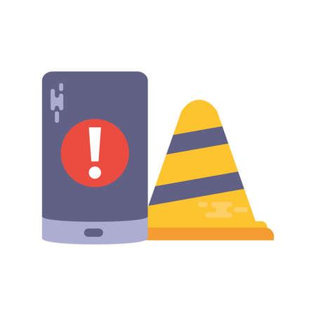 cell phone with safety cone on white background vector illustration design Ilustração