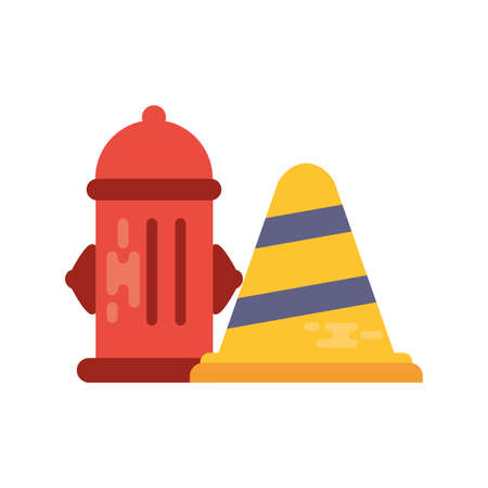 fire hydrant with safety cone on white background vector illustration design