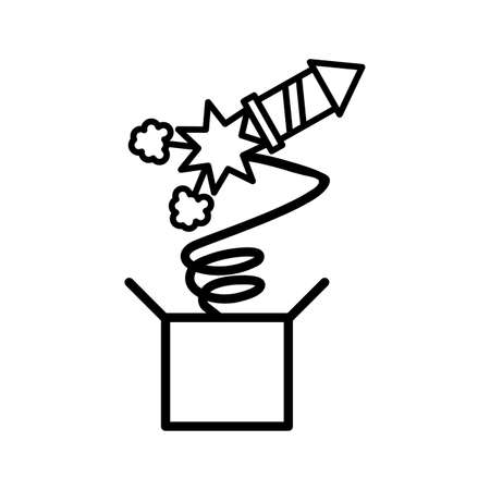 surprise box with a rocket on white background vector illustration design