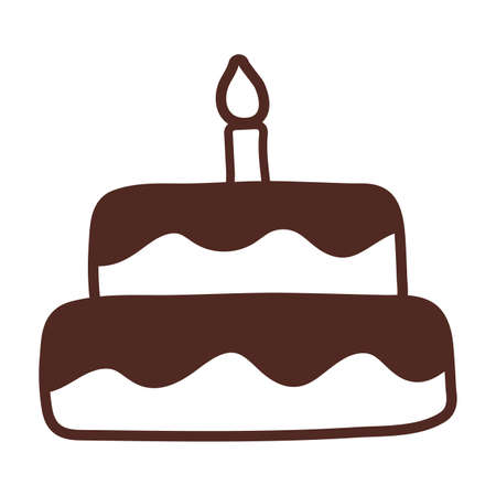 birthday cake, line style icon vector illustration design