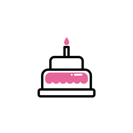 birthday cake, line style and color birthday cake, line style and color vector illustration design