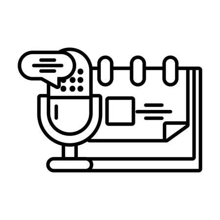 microphone with speech bubble on white background vector illustration design