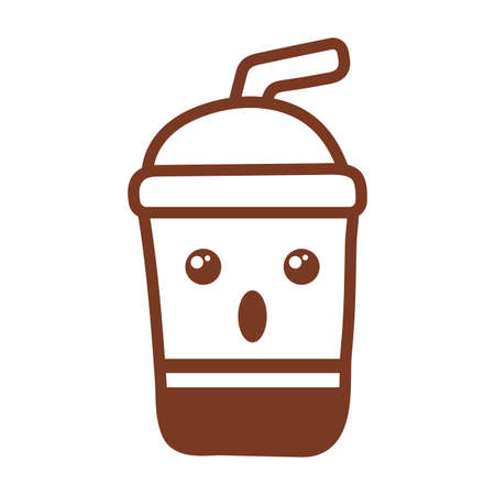 disposable cup for beverages with straw , line style icon vector illustration design
