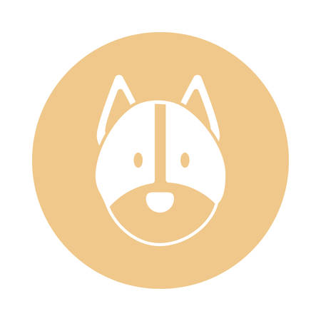 head of cute dog, block and flat style icon vector illustration design