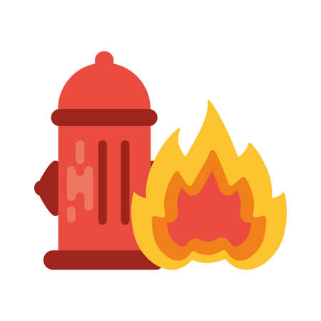 fire hydrant with fire flame on white background vector illustration design Иллюстрация
