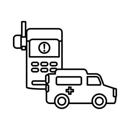 ambulance with walkie talkie on white background vector illustration design Stock Illustratie