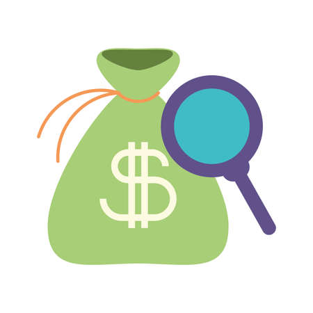 bag with money and magnifying glass, looking for business vector illustration design Vecteurs
