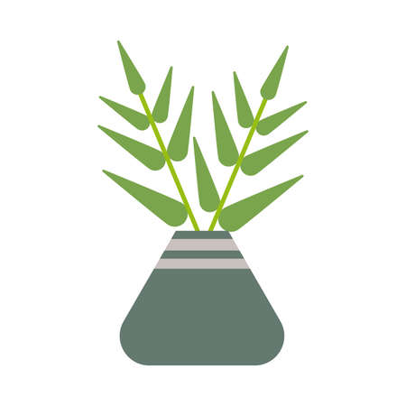 houseplant with potted on white background vector illustration design