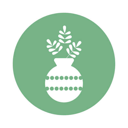 houseplant with potted, block and flat style icon vector illustration design