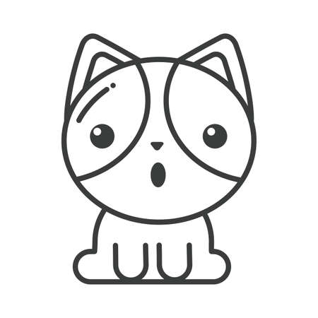 cute cat on white background, line style icon vector illustration design