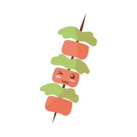 delicious roasted skewer on white background vector illustration design