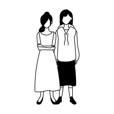 women faceless standing with different poses vector illustration design