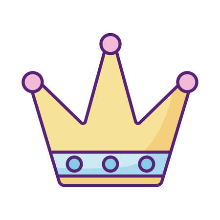 queen crown icon over white background, flat style, vector illustration