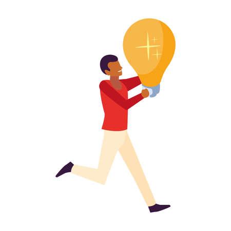 man with light bulb on white background vector illustration design