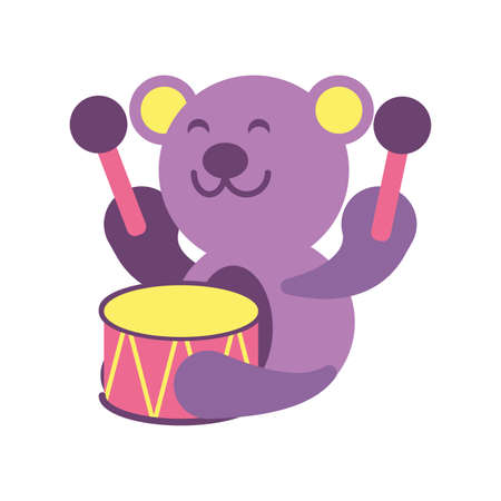 teddy bear with drum toy on white background, baby toys vector illustration design