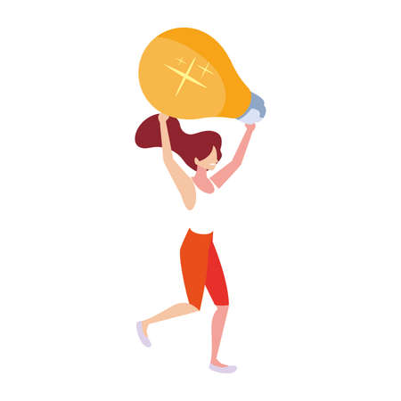 woman with light bulb on white background vector illustration design