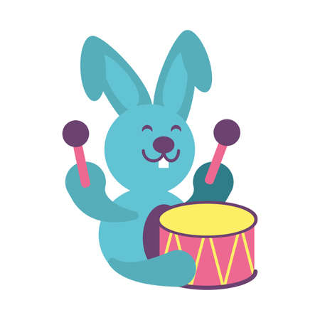 rabbit with drum toy on white background, baby toys vector illustration design