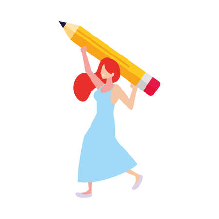 woman with pencil to write on white background vector illustration design
