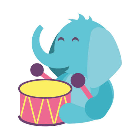 elephant with drum toy on white background, baby toys vector illustration design