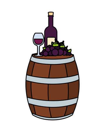 barrel with bottle of wine on white background vector illustration design