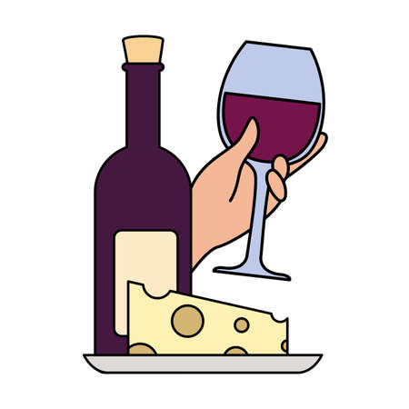 bottle and glass of wine with piece of cheese vector illustration design  イラスト・ベクター素材