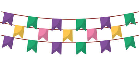 Banner pennant design, Party celebration event happy birthday holiday surprise anniversary and decorative theme Vector illustration