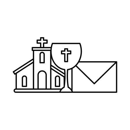 church with catholic cross in white background vector illustration design Ilustración de vector