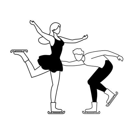 couple of people practicing figure skating on white background vector illustration design