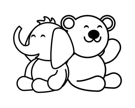 elephant and teddy bear on white background, baby toys vector illustration design