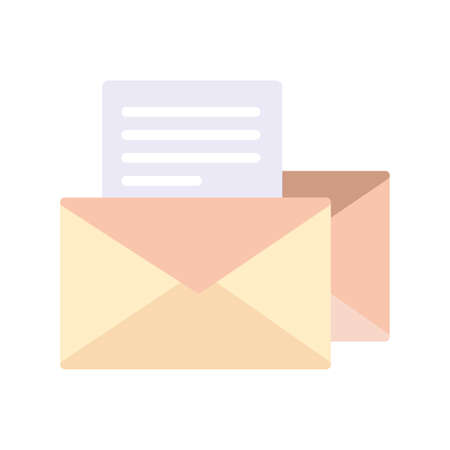 envelope closed with paper sheet on white background vector illustration design Ilustracja