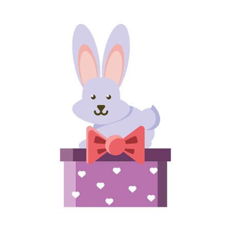 cute bunny in a christmas gift box on white background vector illustration design Ilustracja