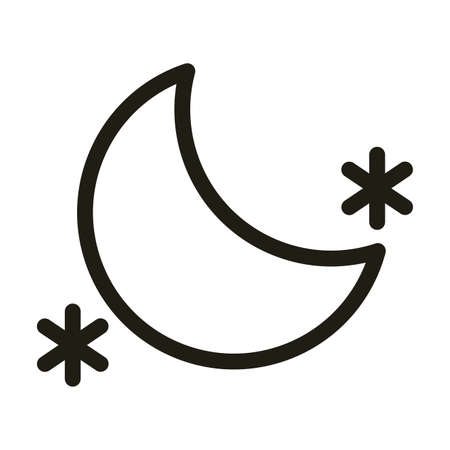 moon with stars, line style icon vector illustration design
