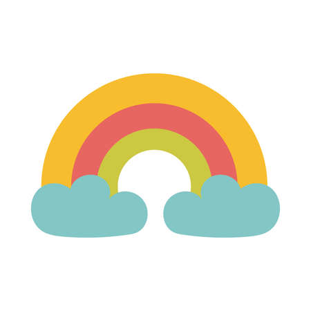 rainbow with clouds on white background vector illustration design