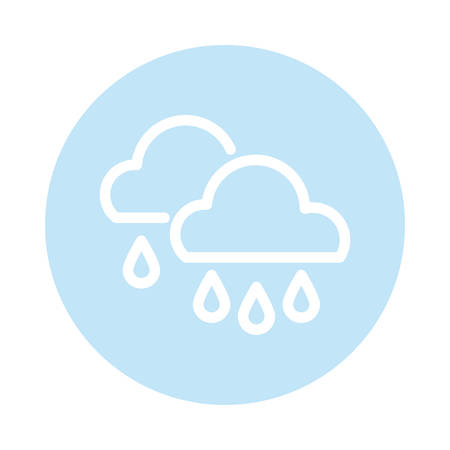 clouds with rain, block and flat style icon vector illustration design