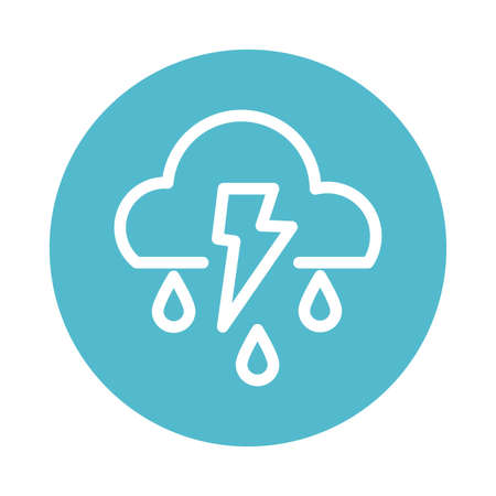 cloud with thunder and rain, block and flat style icon vector illustration design