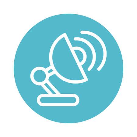 satellite antenna transmitting, block and flat style icon vector illustration design