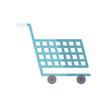 shopping cart icon over white background, flat style, vector illustration