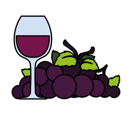 wine glass with grapes on white background vector illustration design