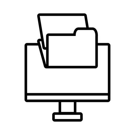 Écran d'ordinateur avec la technologie numérique en fond blanc vector illustration design