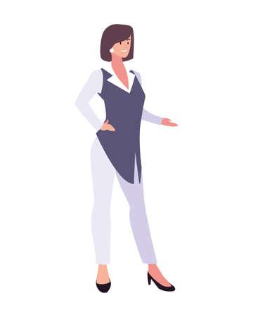 businesswoman standing on white background vector illustration design Foto de archivo - 142689652