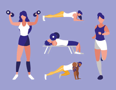 set of people doing recreational activities vector illustration design