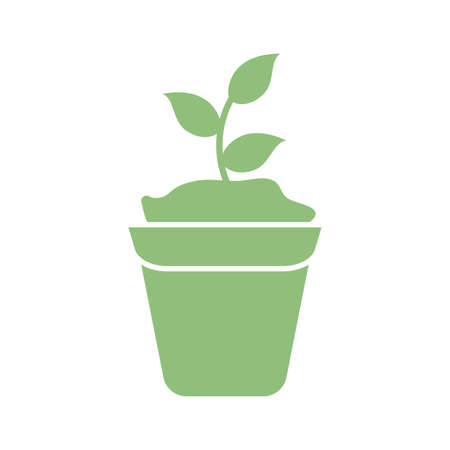 plant in a pot icon over white background, silhouette style, vector illustration