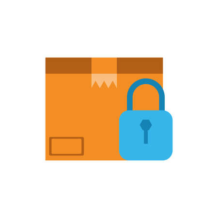 Box and padlock design, Delivery logistics transportation shipping service warehouse industry and global theme Vector illustration