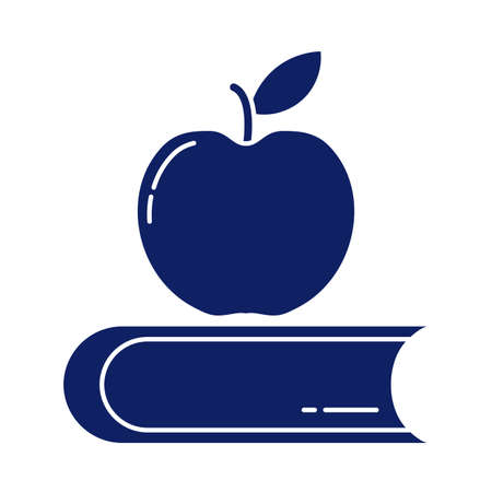 closed book with delicious apple, silhouette style icon vector illustration design
