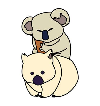 koala and wombat on white background vector illustration design