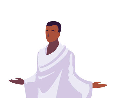 man pilgrim hajj on white background vector illustration design