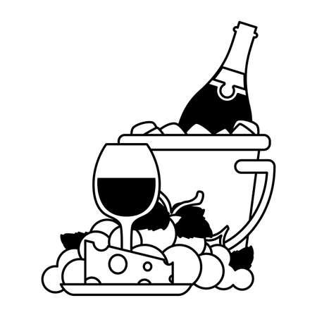 wine bottle inside ice bucket , alcohol drink vector illustration design