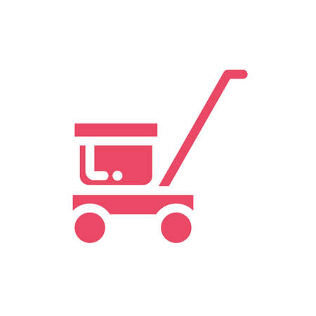 trolley delivery with box carton in white background vector illustration design Stock Illustratie