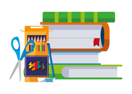 pile text books with colors pencils vector illustration design