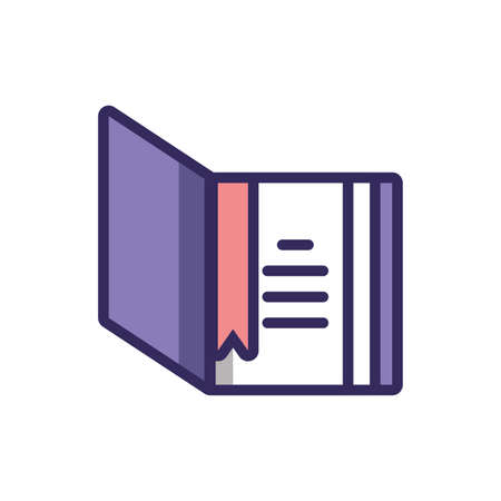book with cover opened over white background, colorful line and fill style, vector illustration